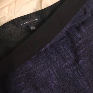 -banana republic- Black & blue cross stitch skirt